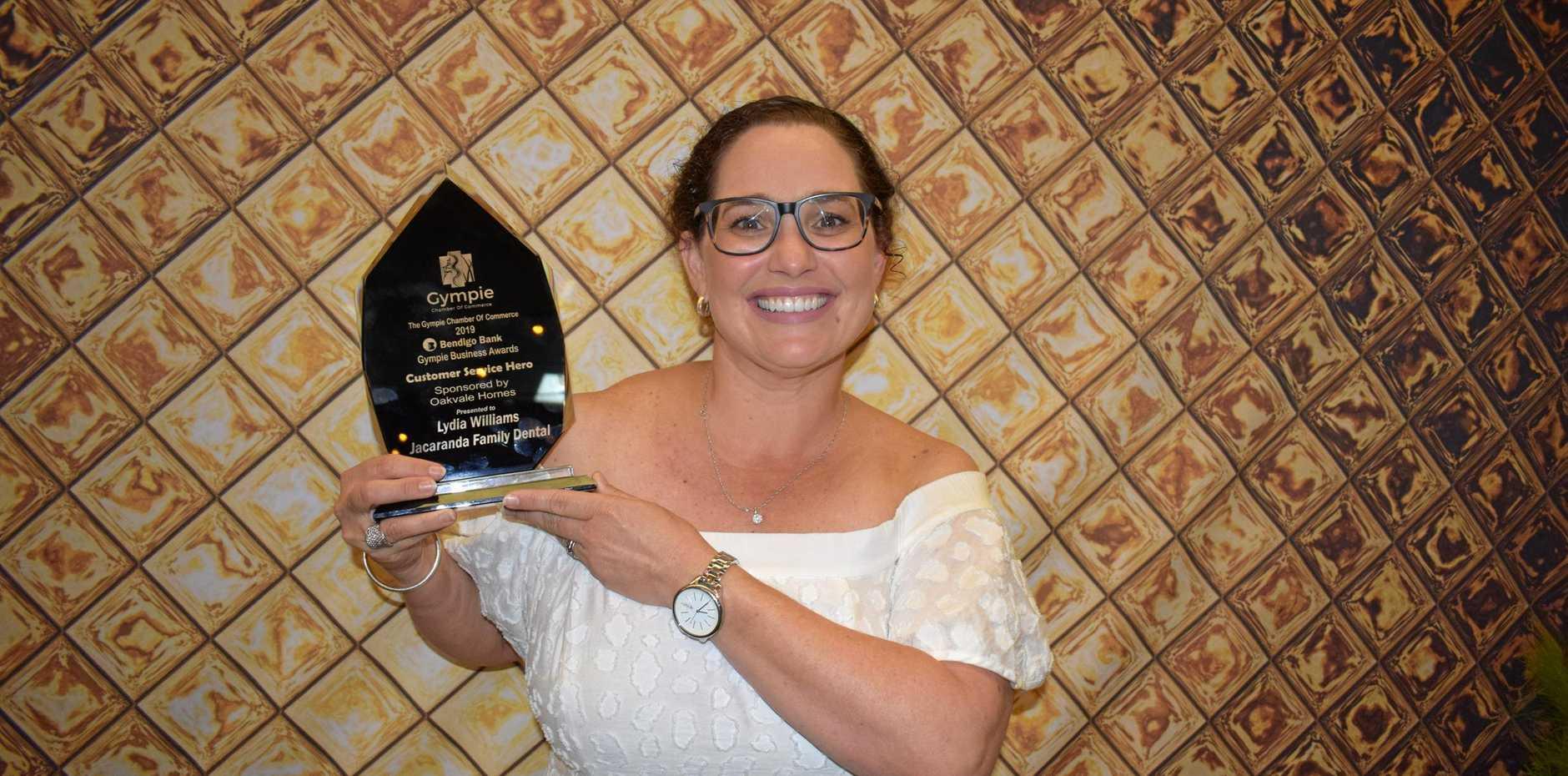 Lydia Williams from Jacaranda Family Dental was awarded Customer Service Hero at the 2019 Gympie Business Awards.