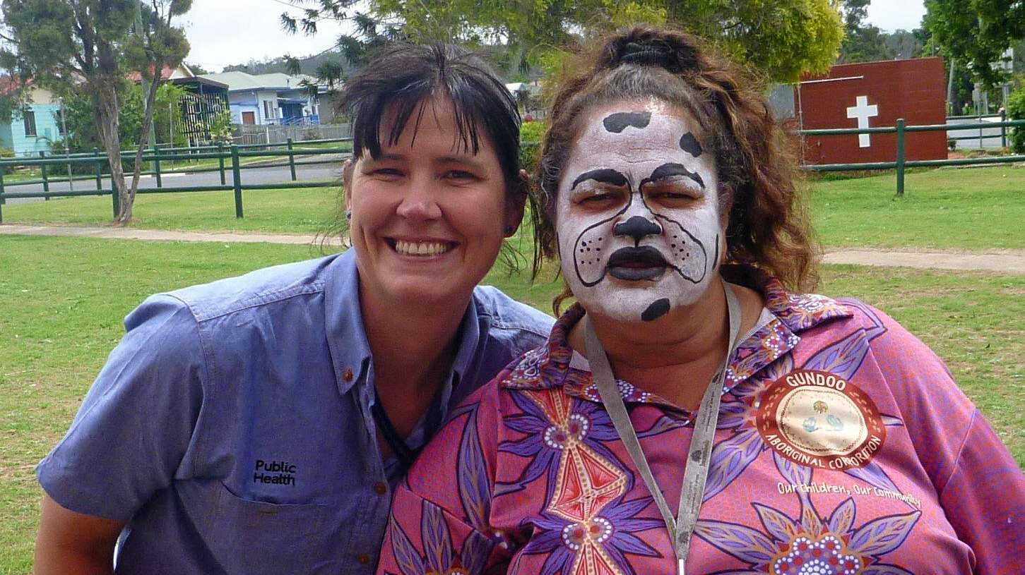 Senior environmental health officer Amanda Hutchings and community member Elvie Sandow at a previous year's vet day community barbecue.