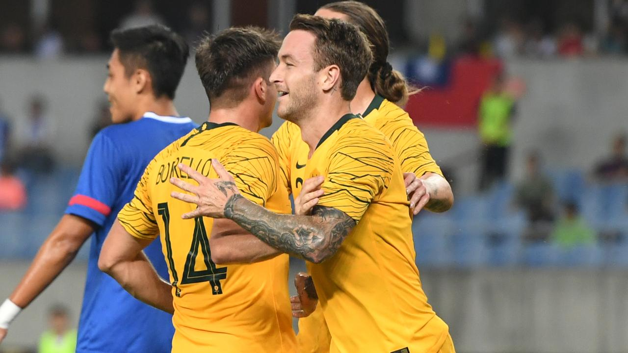 Striker Adam Taggart scored a double for Australia. Picture: Getty Images