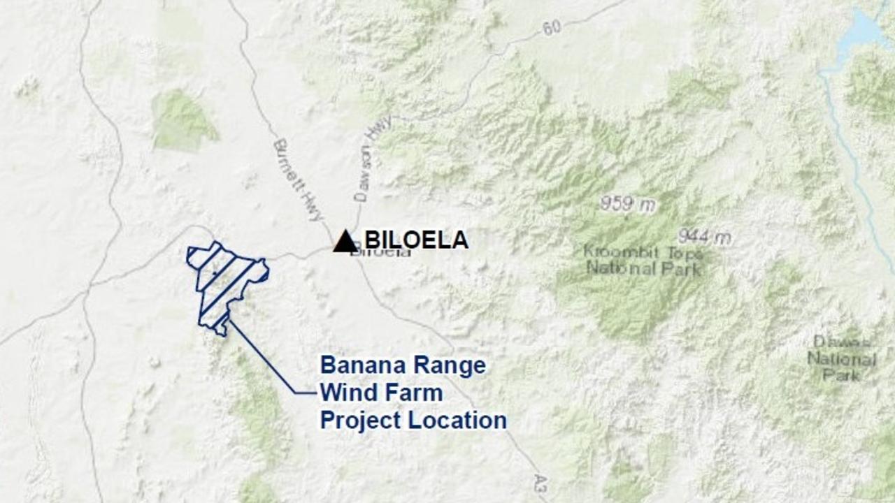 The location of the $350 million Banana Range Wind Farm.