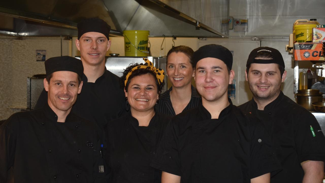 COOKING UP A STORM: Paul Lochel, Jessie Manthey, Nikki Wilson, Cheryl Andrew, Brayden Zabel, Connar McKinney are just some of the talented chefs who work at Porters Motel, Plainland.