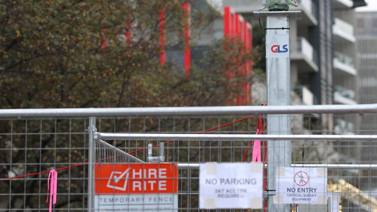 Scaffolding at the Mascot Towers site. Picture: AAP