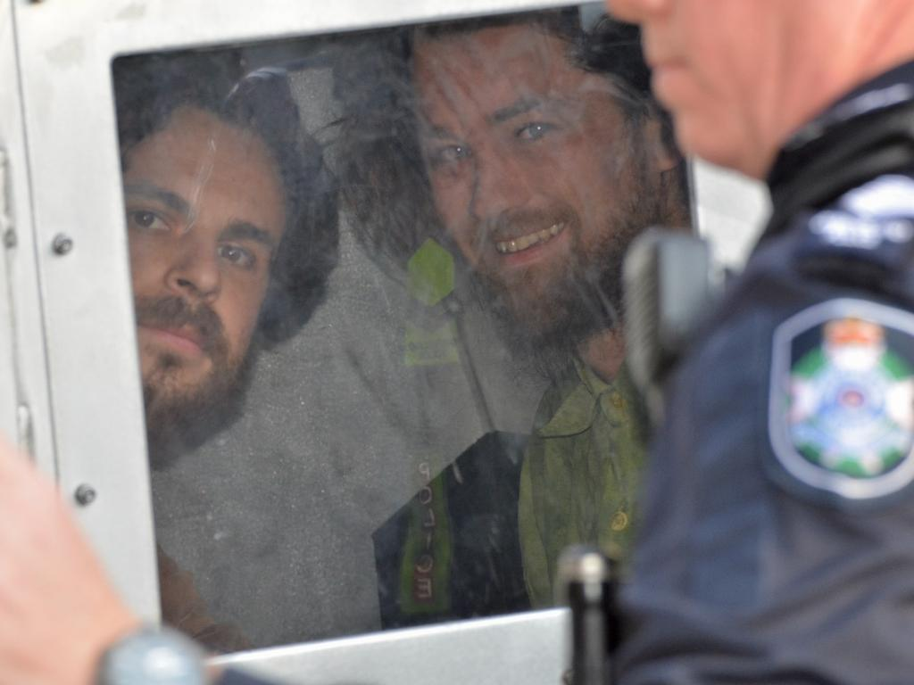Extinction Rebellion protesters Tom and Chris inside a paddy wagon last week.
