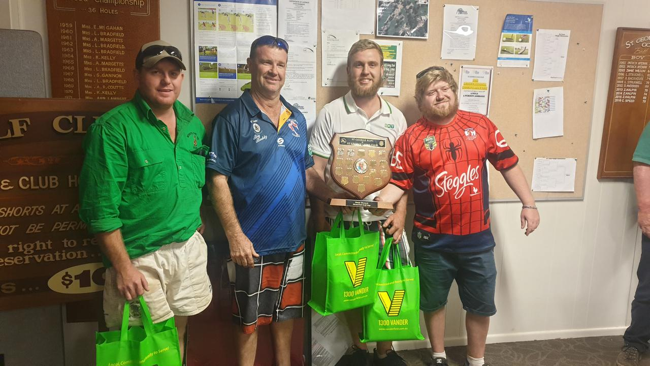 ON PAR: The the father and son team of Brendon and Brandan Lee, and teammate Dan Dwyer were the overall shield winners at Banjos memorial Golf day.