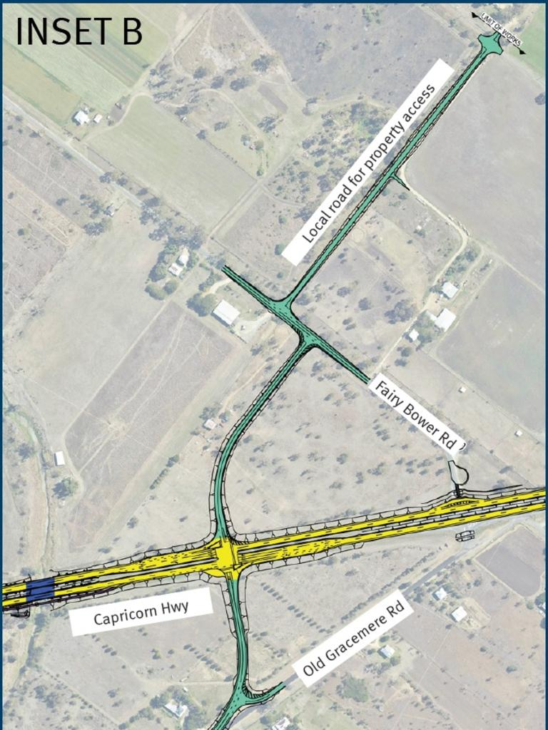 CONCEPT DESIGN: Close up of the new local connection to Gracemere and Fairy Bower as part of the Capricorn Highway - Rockhampton to Gracemere Duplication.