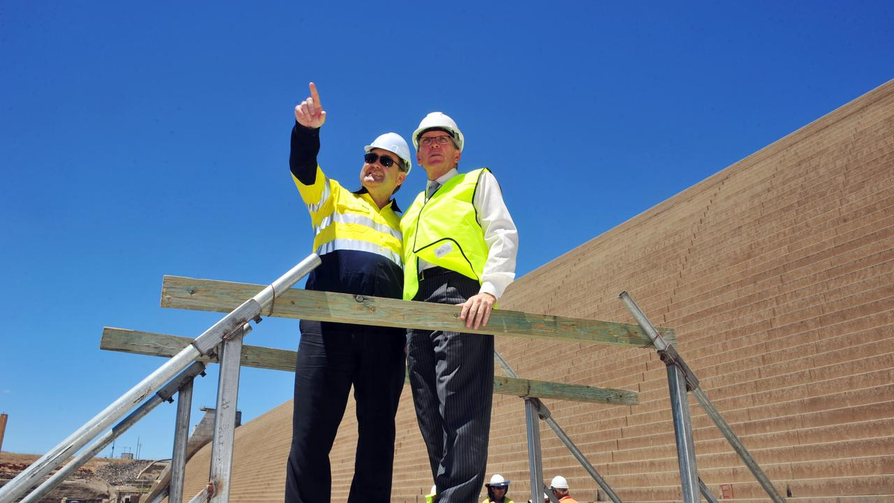 Former Bundaberg MP Jack Dempsey and Energy and Water Supply Minister Mark McArdle during the term of the Newman Government. They tour Paradise Dam as Sunwater announced it began additional interim repairs. Photo: NewsMail