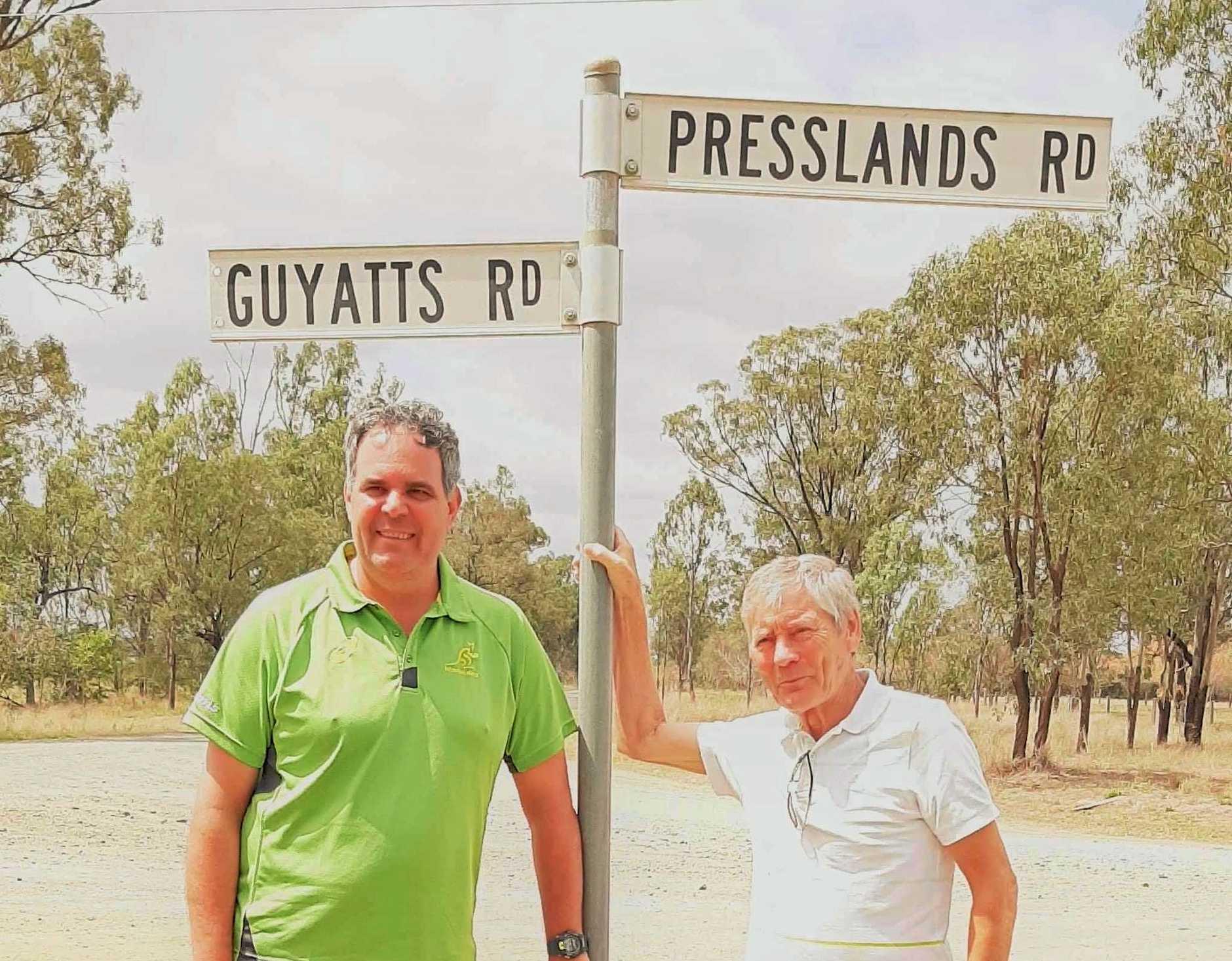 RECONNECTION: Rick Pressland and Andrew Bingley at Presslands Road Reids Creek.