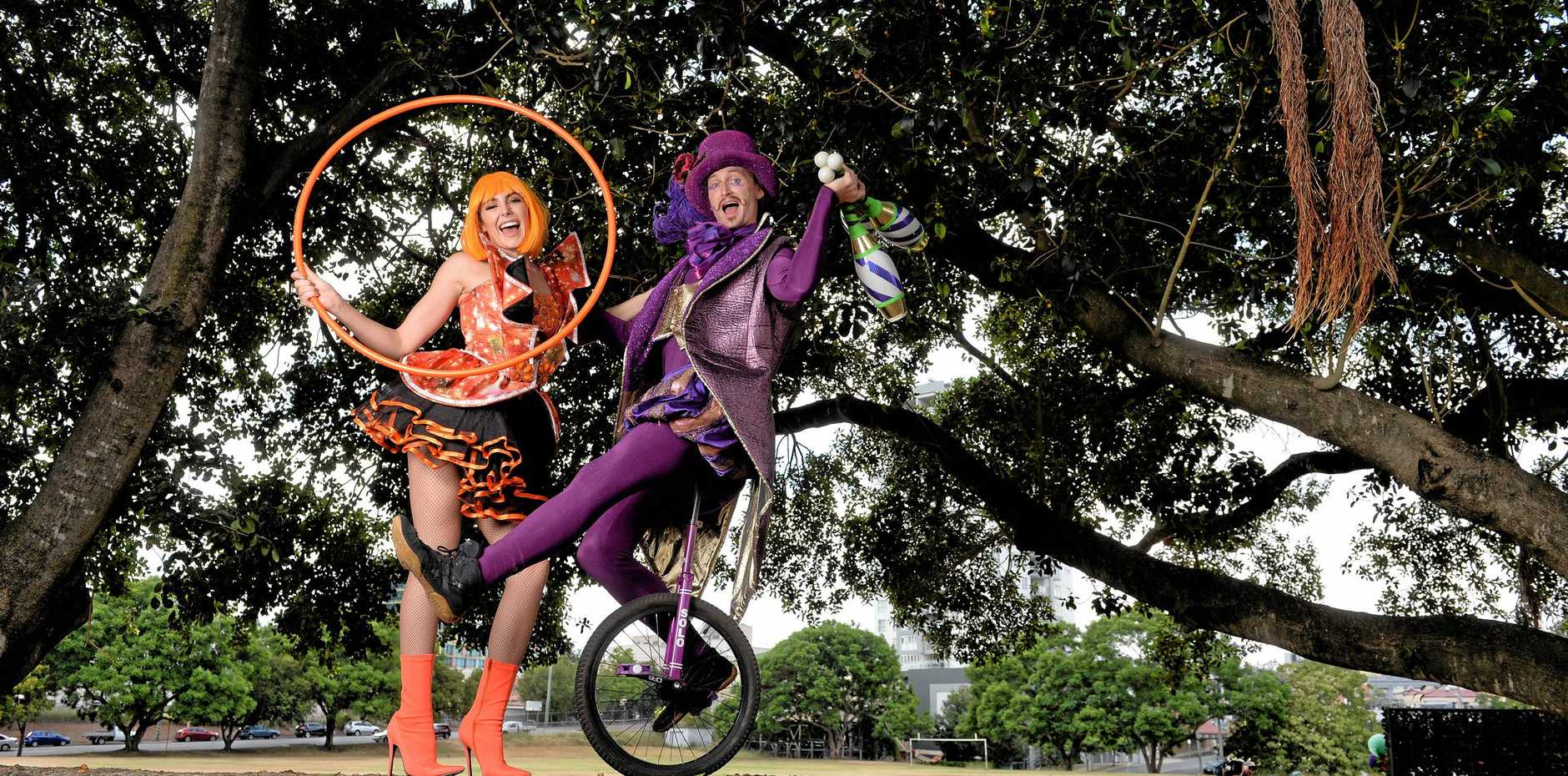 FUNDING BOOST: Galaxy Girl and Fiesta Jester helped launch this year's Ipswich Festival.