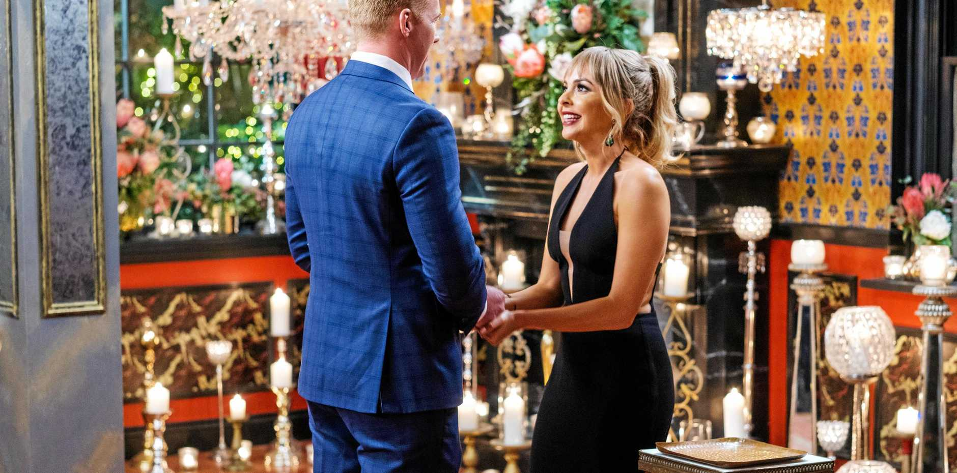 NO ROSE: Bachelorette Angie Kent with Hervey Bay's Mitch Gould.
