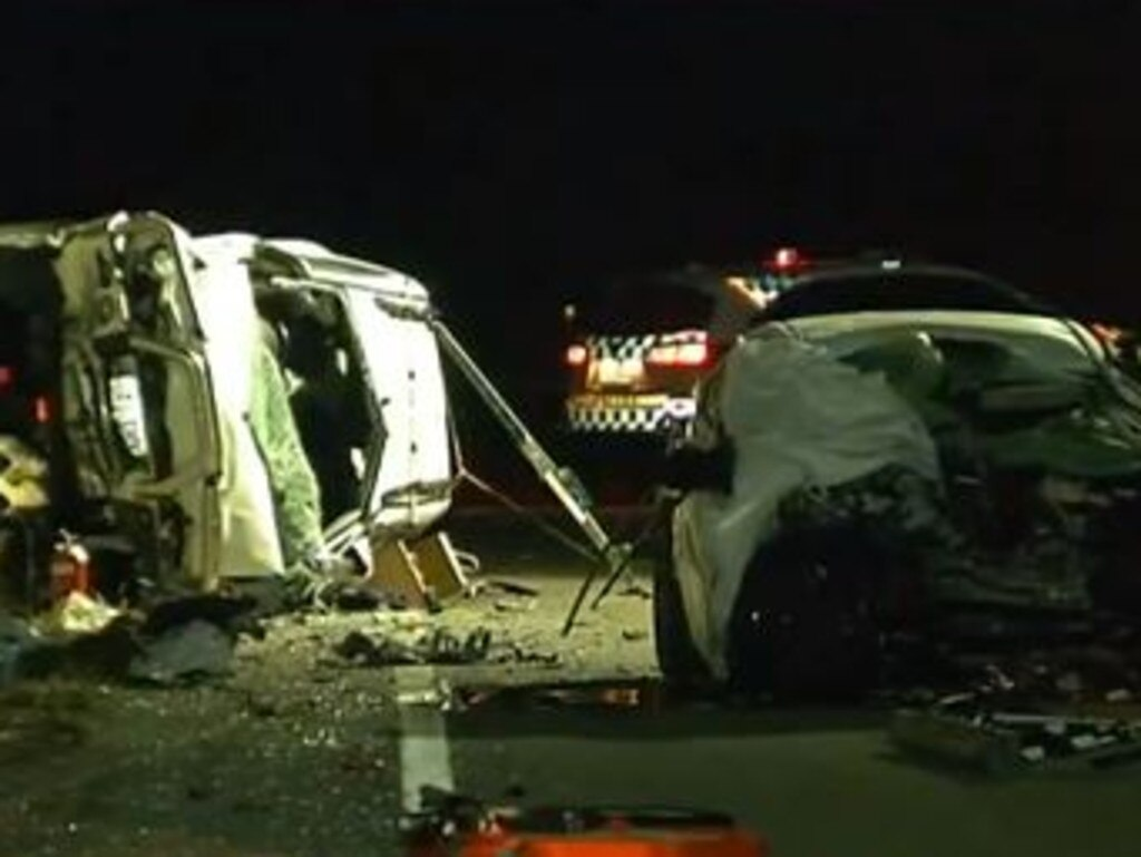 The scene of last night's horror head-on. Picture: 7 News Brisbane