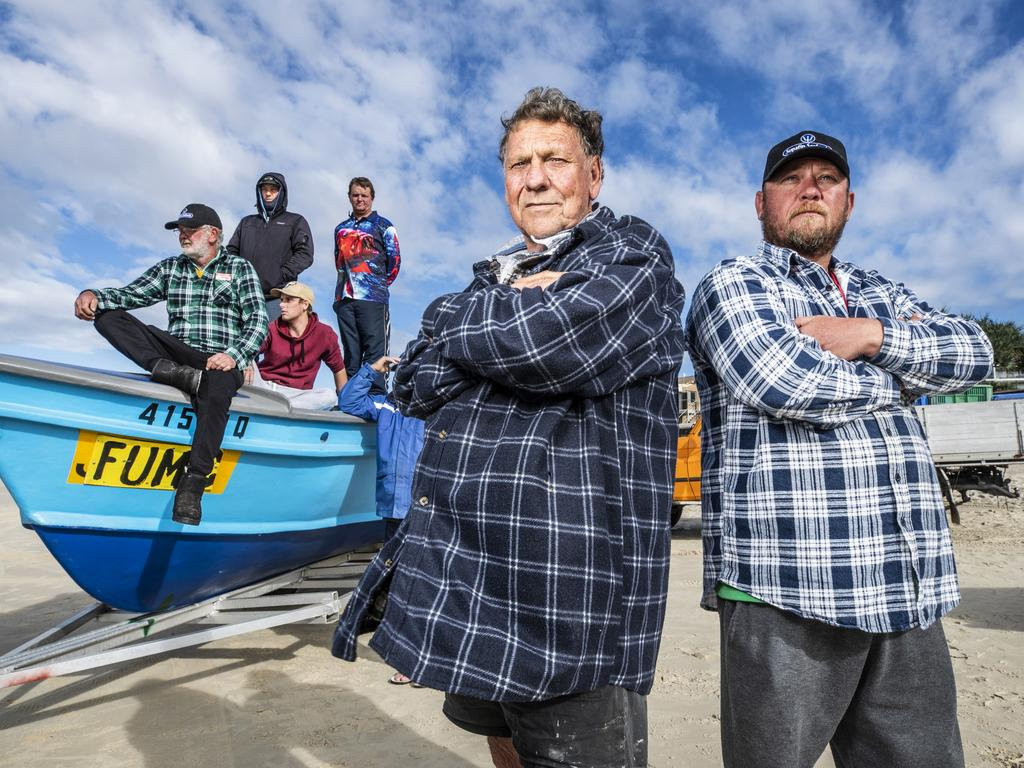 Third-generation mullet fisherman Ray 'Boysa' Chaplin, his son Adam and crew at Caloundra have been faced with uncertain times for the past few months. Picture: Lachie Millard
