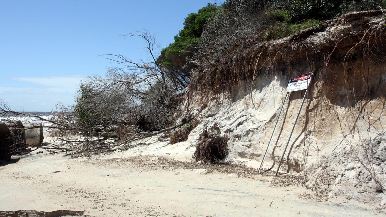 Photo of erosion caused to Woorim Beach from a storm in 2010. Photo: Vicki Wood.