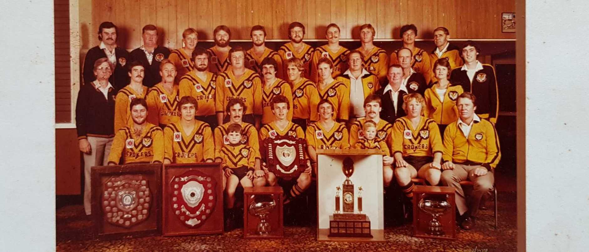 Former president of Wests Tigers Jack Webster (bottom right) with Western Suburbs R.L.C A-Grade premiers of 1982.