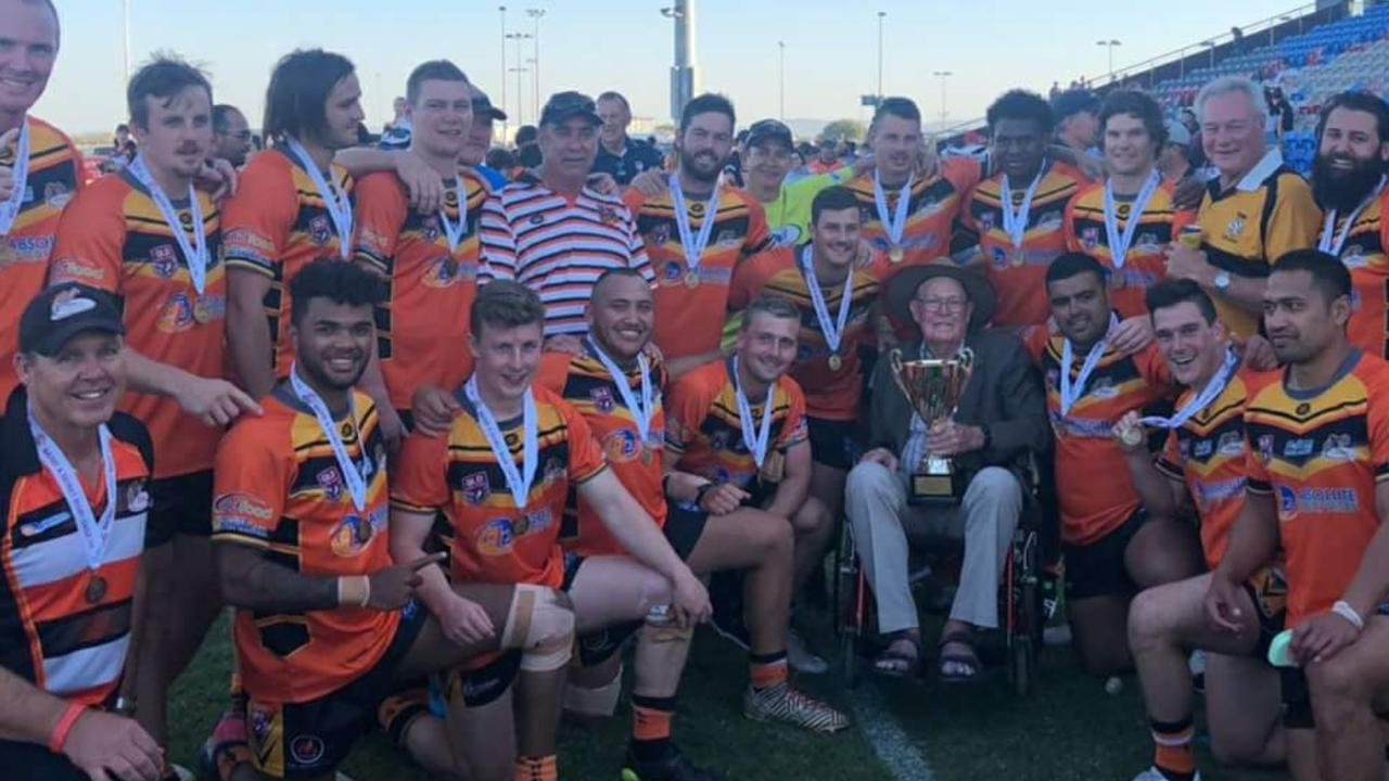 Jack Webster (fourth from bottom right) with the 2018 A-Grade premiers Wests Tigers.