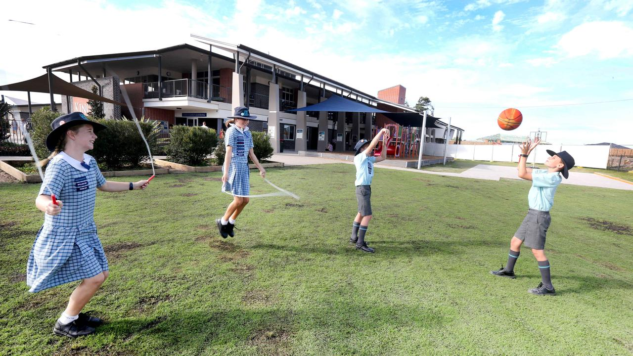 Students Emily Clark, 11, Ellis Petrucci, 11, Josh Day, 11, and Grant Garcia, 10, at their Kings Christian College in Pimpama. Picture: Mike Batterham