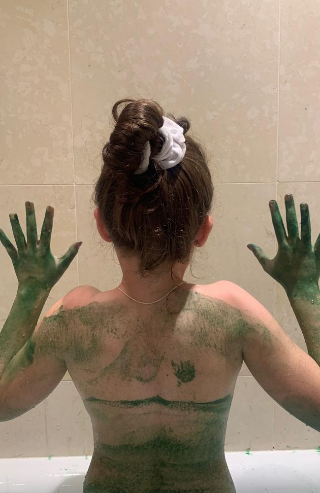 Kerri's daughter looked like 'an alien' after her bath. Picture: Supplied