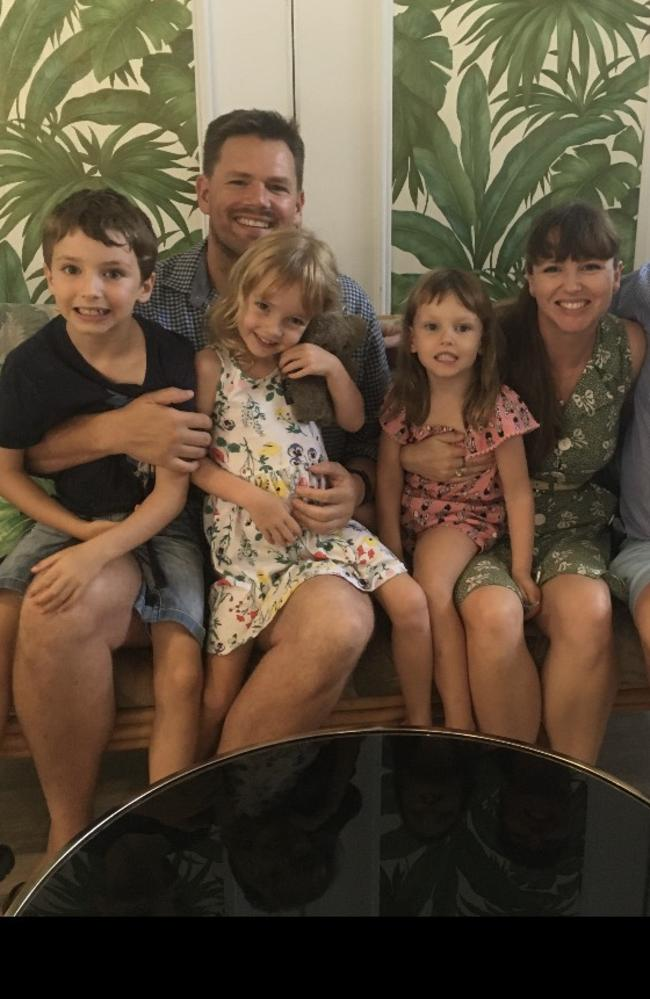 Anna and Zac with their children Finn, 7 and daughters Isabel and Zoe. Picture: Supplied