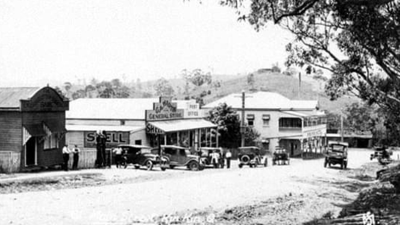 The old ES & A Bank (far left) on Main St, Kin Kin, in 1931.