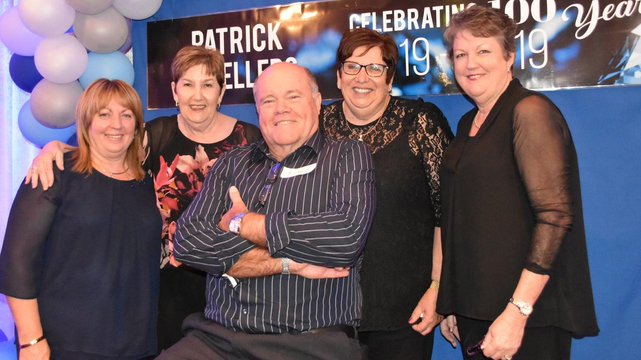 Staff Janeen Coughlan, Sandra Ward, Ross Patrick, Rhyll Patrick and Tricia Booth celebrate Patrick Jeweller's 100th anniversary at the Gladstone Grand on 10 October 2019.