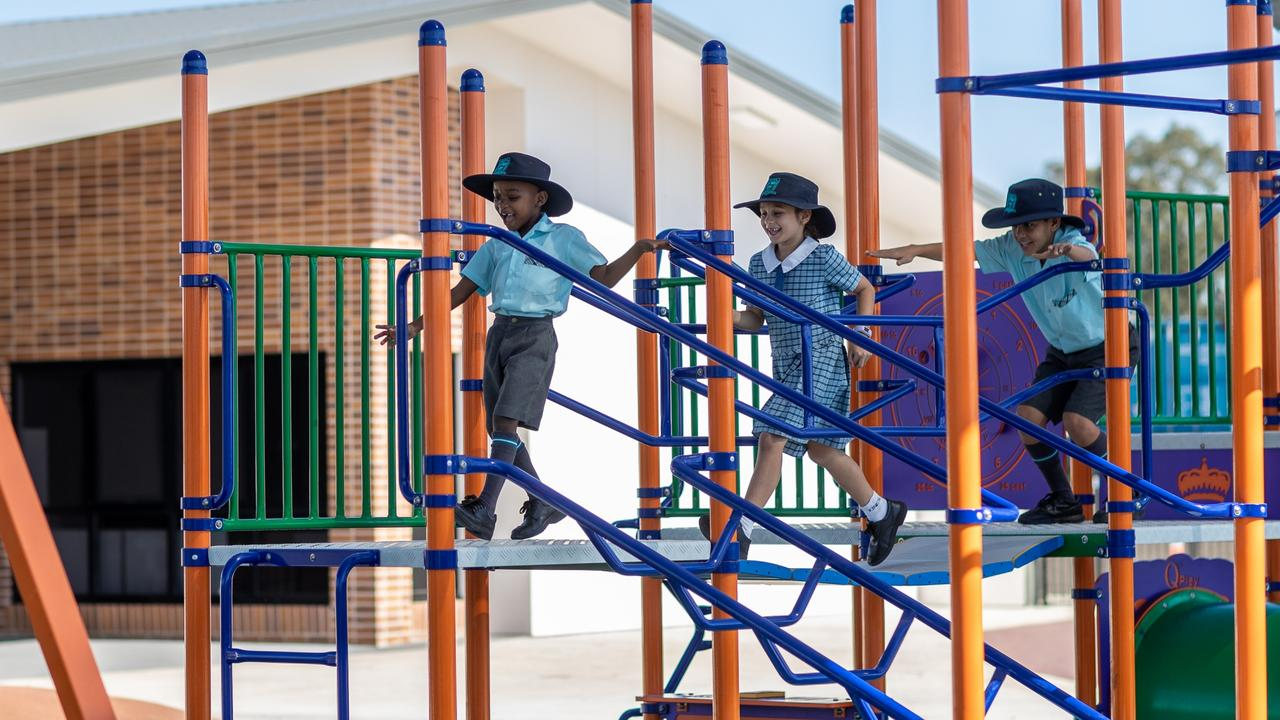 Kids playing at the new King's Christian College campus at Logan Village, set to open in 2020. Picture: King's Christian College