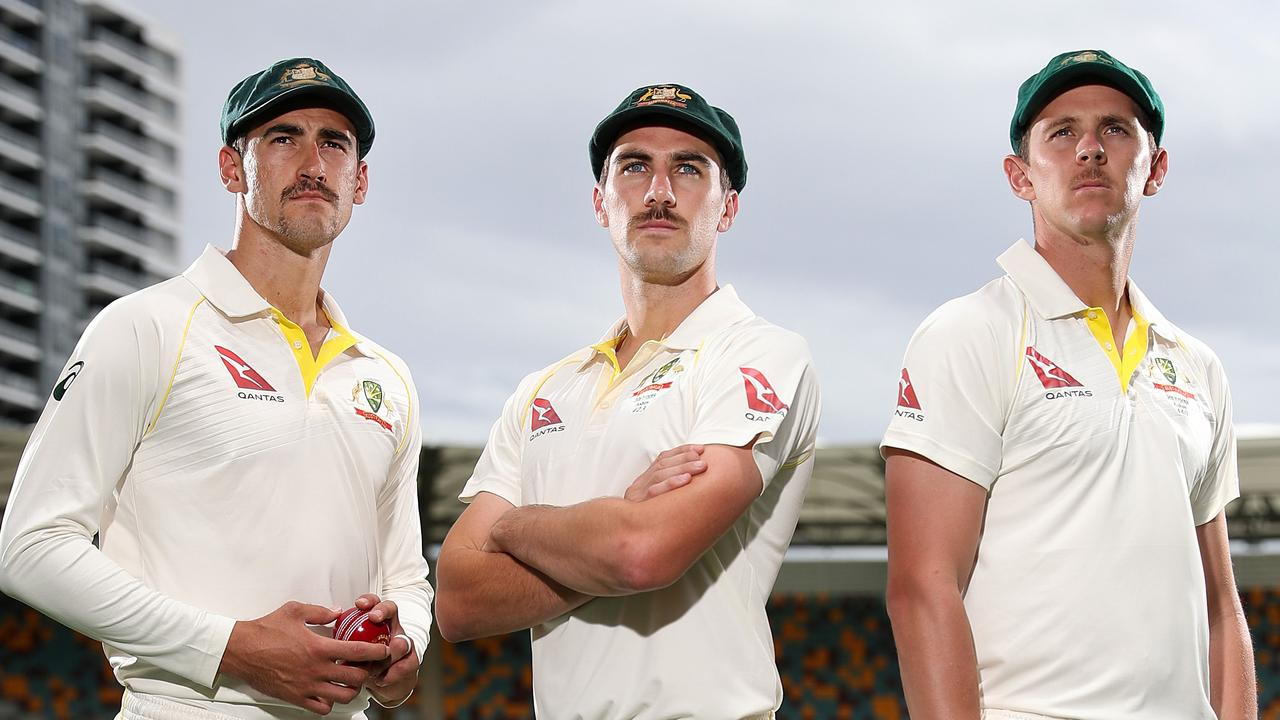 Australian fast bowlers Mitchell Starc, Pat Cummins and Josh Hazlewood. Picture: Peter Wallis