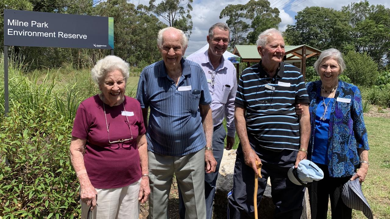 FAMILY TIES: Norma Milne, Cameron Milne, Cr Ted Hungerford, Doug Milne and Mildred Milne at the reserve. Photo: Contributed
