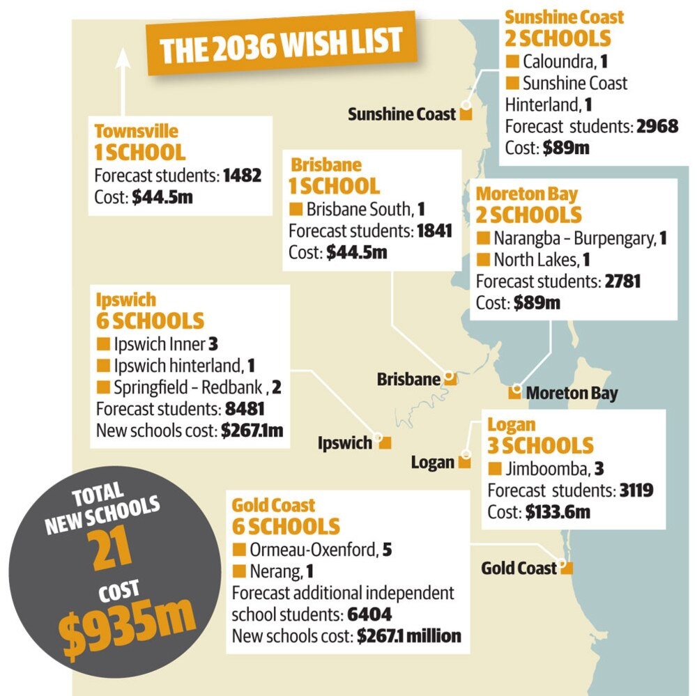 The locations that desperately need new schools at a cost of $935 million.