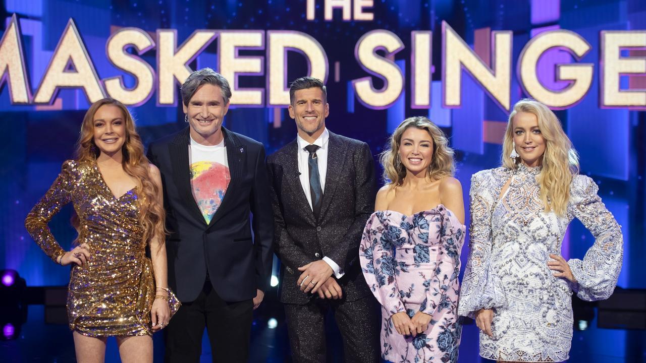 The Masked Singer Australia: Lindsay Lohan, Dave Hughes, Osher Gunsberg, Dannii Minogue and Jackie O.