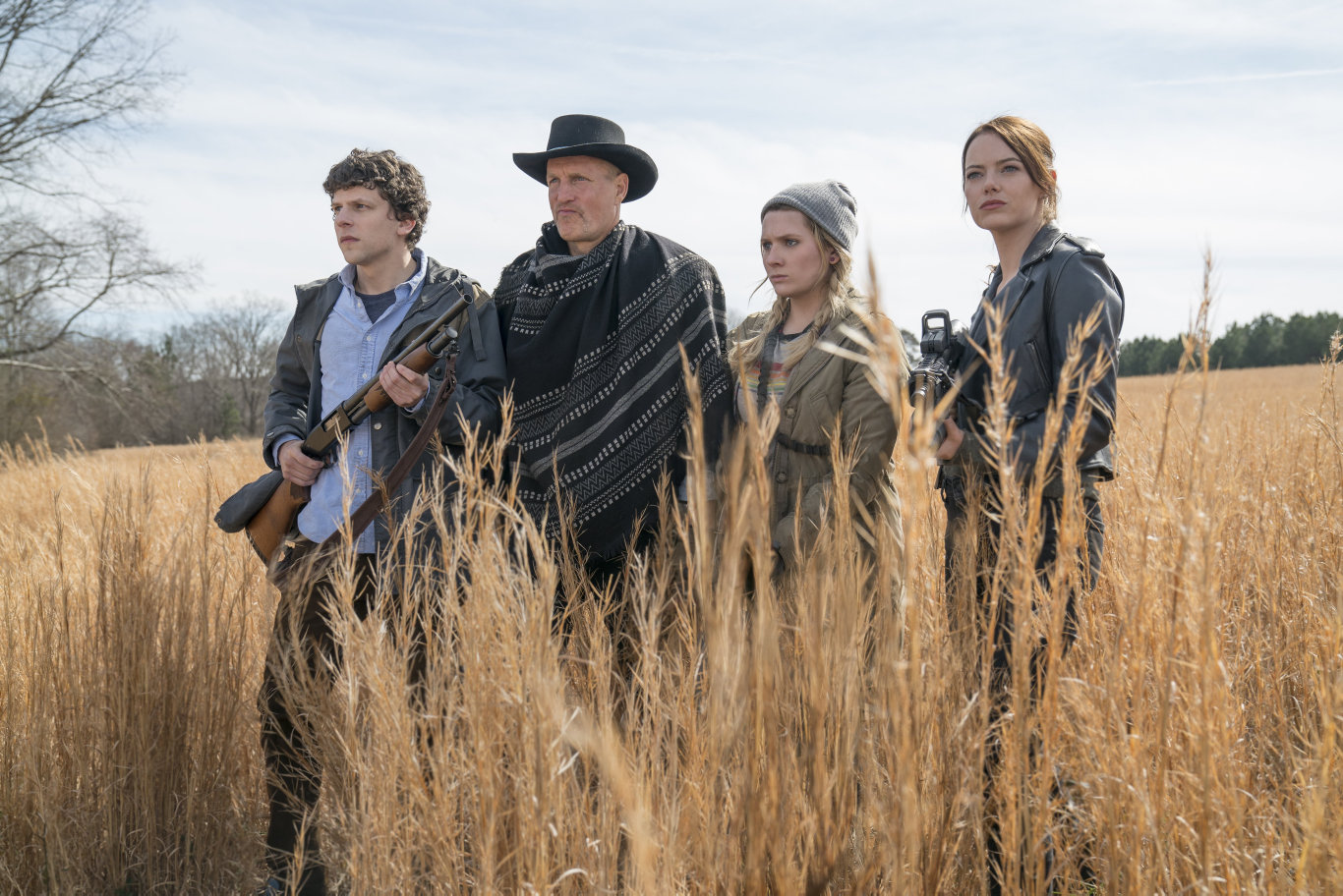 Jesse Eisenberg, Woody Harrelson, Abigail Breslin and Emma Stone in a scene from Zombieland: Double Tap.