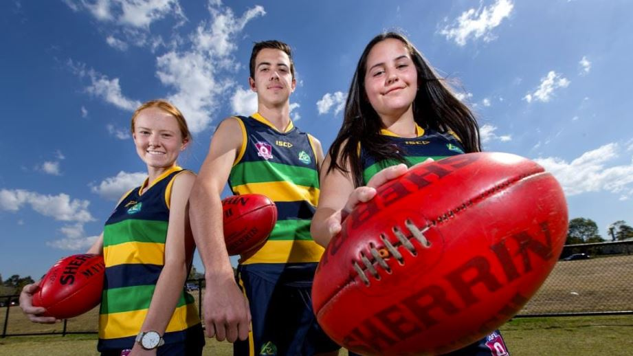Narangba Valley State High School students Chloe Gregory, Will Merriless and Ali Ayre. Picture: AAP Image/Richard Walker