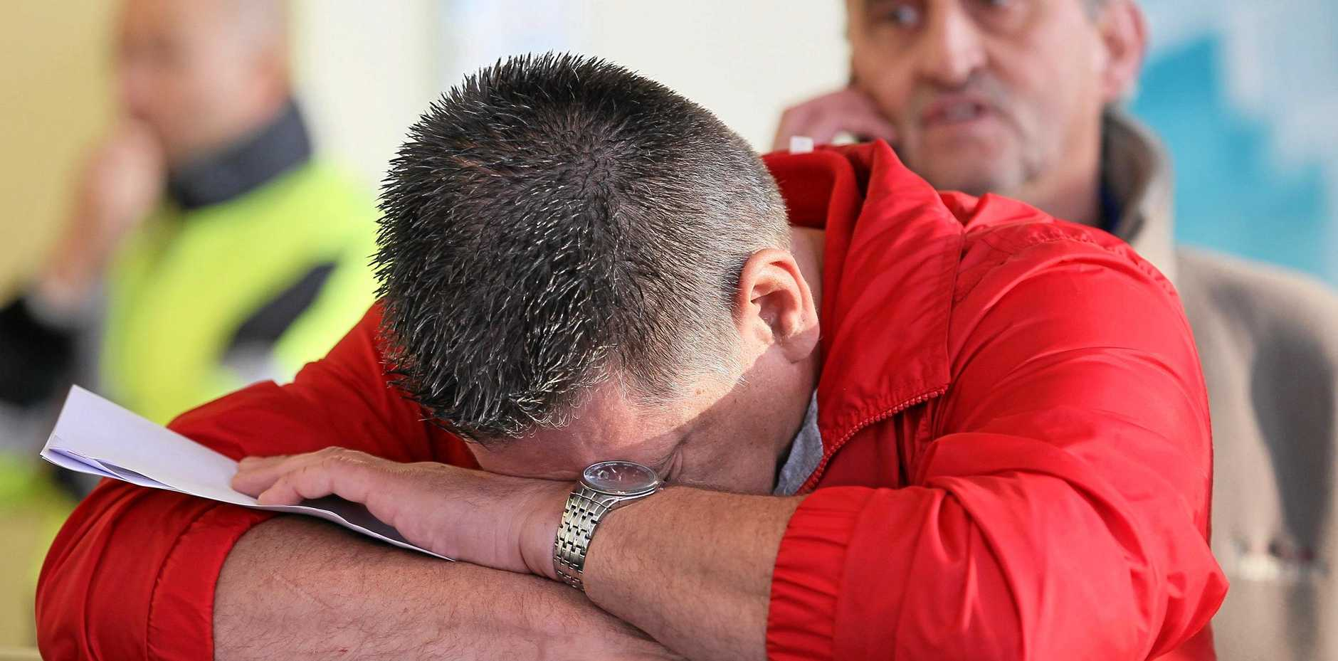 A file photo of a man crying.