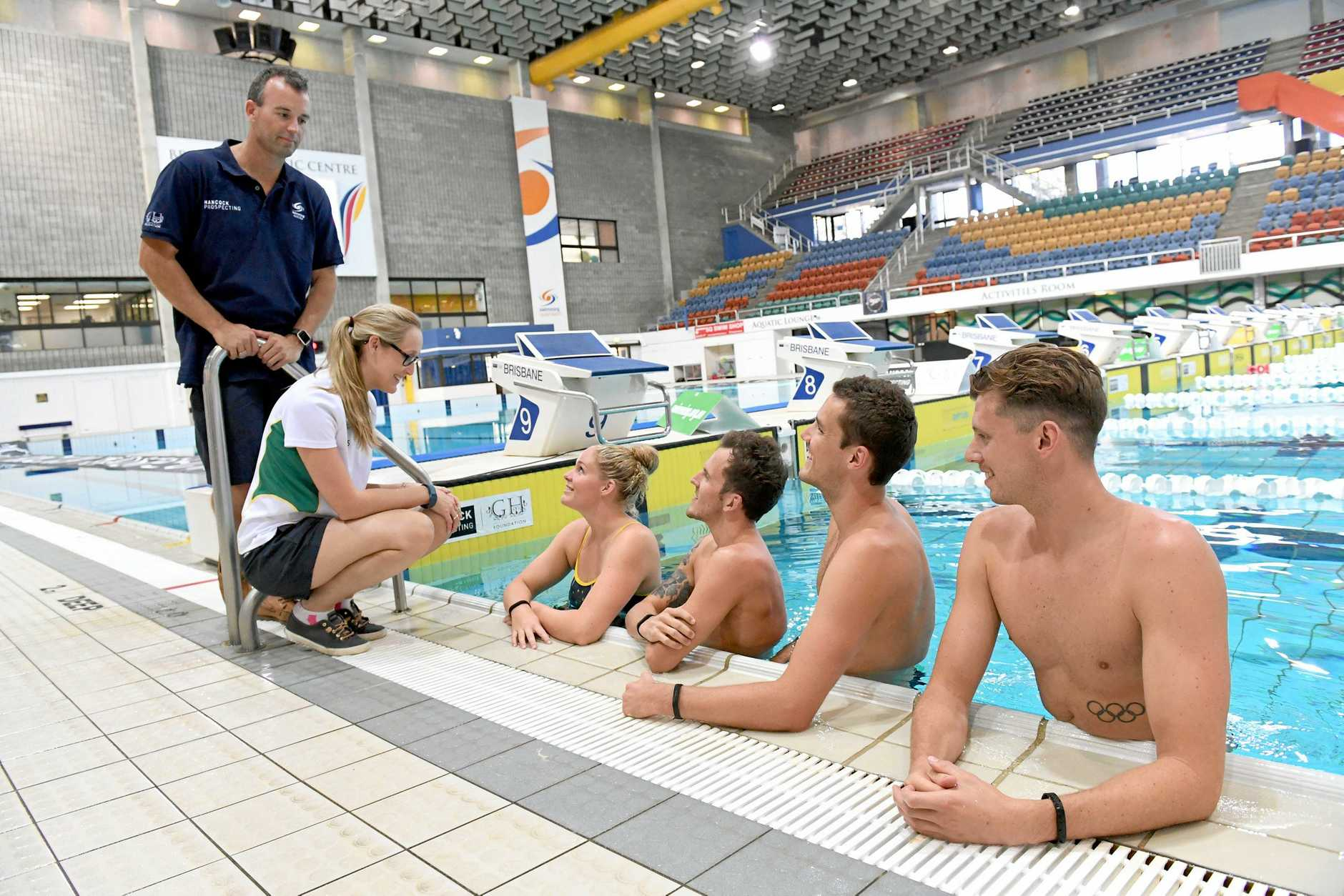 Fitbit has become the official supplier for Swimming Australia. From left: Paralympic Program Director and former triple Olympian Adam Pine, Danielle Formosa, Leah Neale, Rick Pendleton, Blake Cochrane, and Thomas Fraser-Holmes.