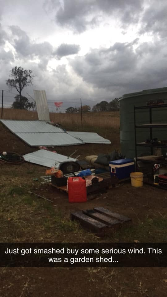 Shiamber Fountain posted this photo to Facebook, showing what's left of her shed.