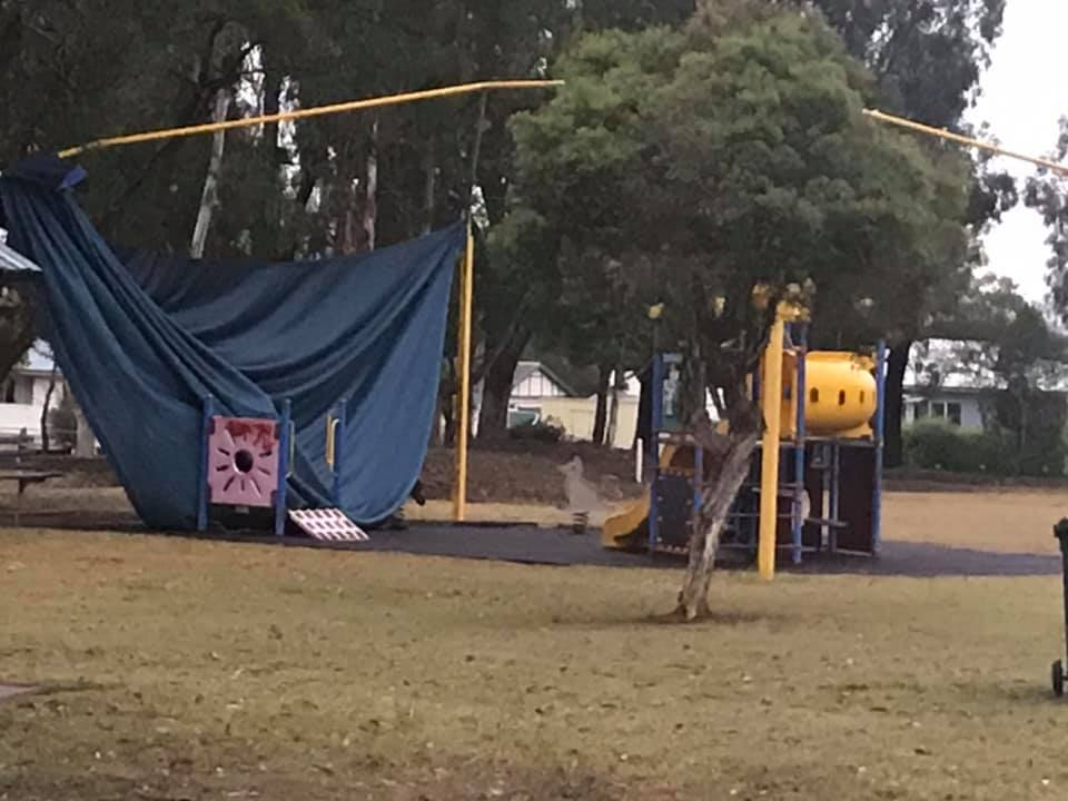 Andrew Wilson posted this image showing the damage at Kingaroy's Rotary Park.