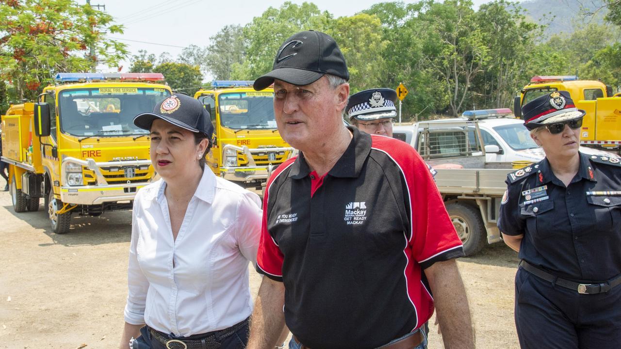 FIRES: Premier Annastacia Palaszczuk, Mackay Mayor Greg Williamson and QFS Commissioner Katarina Carroll arrive at Finch Hatton during the 2018 bushfires. Photo: Daryl Wright.