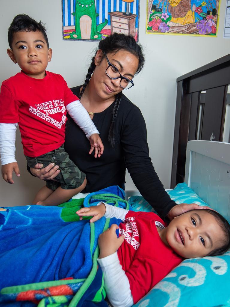 Elizabeth Lefai with Alani Jr, 3, and Zephaniah, 1. Picture: Jay Town