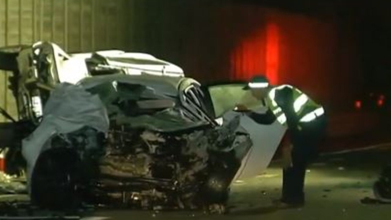 The scene of the crash on Gympie Arterial Road where two people died on Tuesday night. Picture: 7 News Brisbane