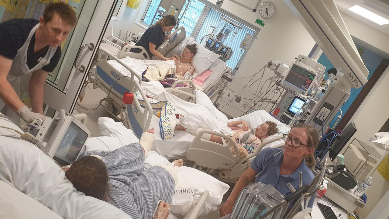 Brinsmead family Darian, 13, Ronan, 11, and Rachael Sellars are continuing to recover in Townsville Hospital after a horror crash at Gordonvale. Picture: Supplied