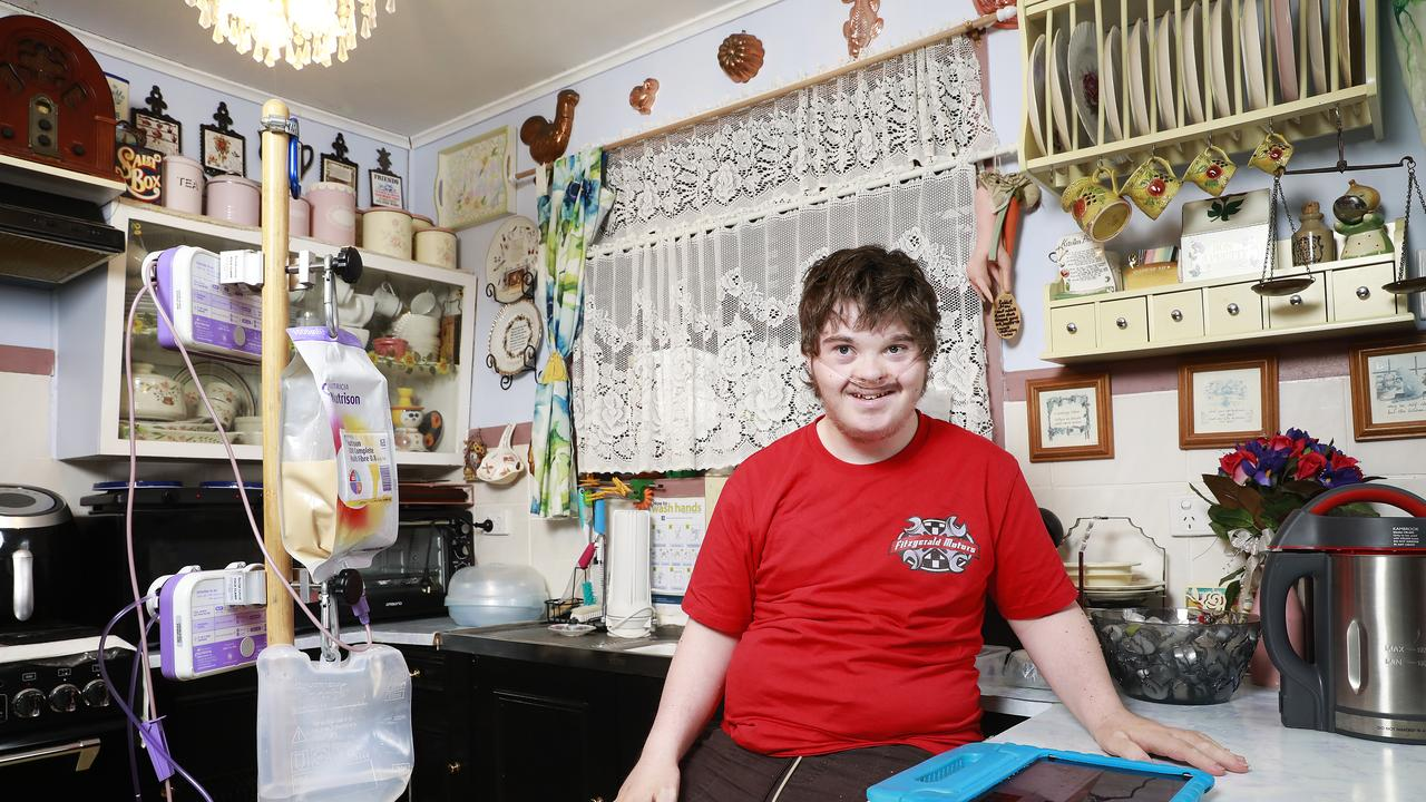 Josh Mitchell, 19, needs life saving equipment in his home. Picture: AAP/Claudia Baxter