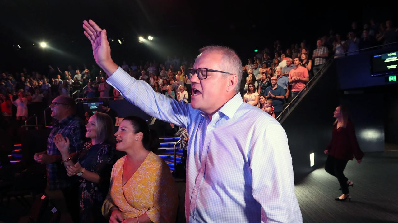 Prime Minister Scott Morrison with his wife Jenny at an Easter Sunday Hillsong service in Sydney. Picture: Gary Ramage