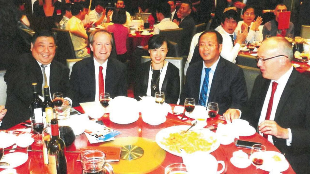 A photograph submitted to a public inquiry showing Huang Xiangmo (second from right) dining with former NSW Labor senator Ernest Wong, former federal Labor leader Bill Shorten and former NSW Labor leader Luke Foley.