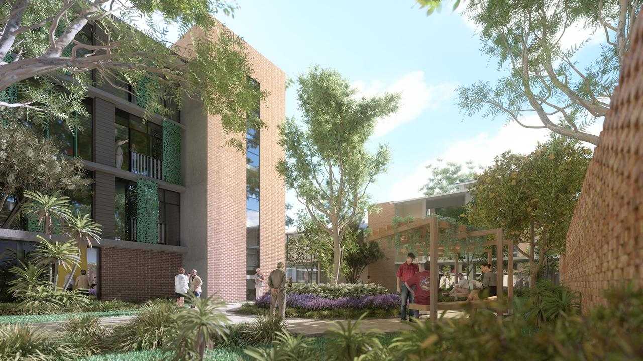 View from the garden of Building A which will include 36 one-bedroom residential aged care suites across four storeys.