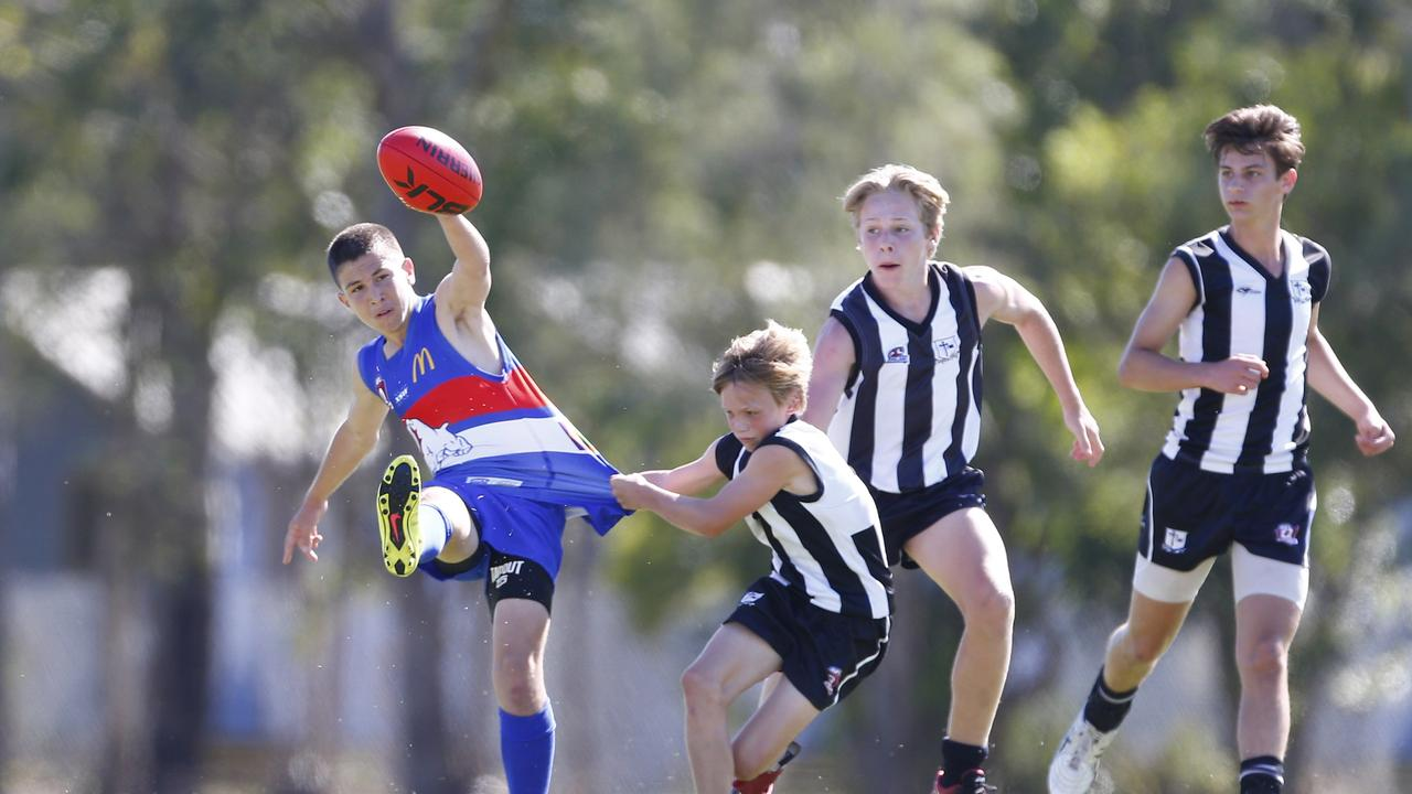 A Cairns State High School player at the inaugural 2016 AFL Queensland Schools Cup State Finals. Picture: AFL QUEENSLAND.