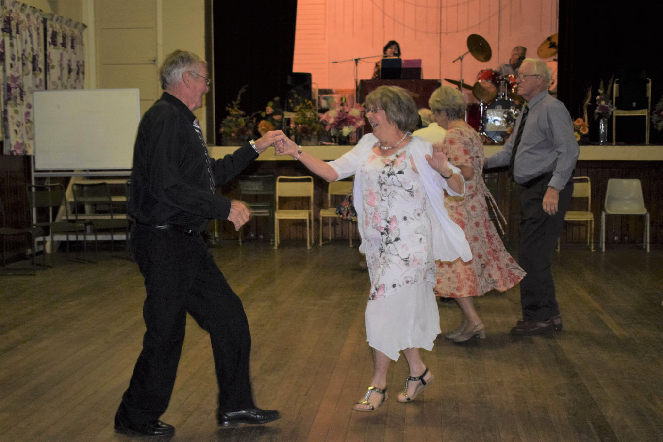 BUST A MOVE: Viv and Gwenda Brown show off their moves at the Chinchilla Harvest time Dance, the first dance to be held in town in many years.