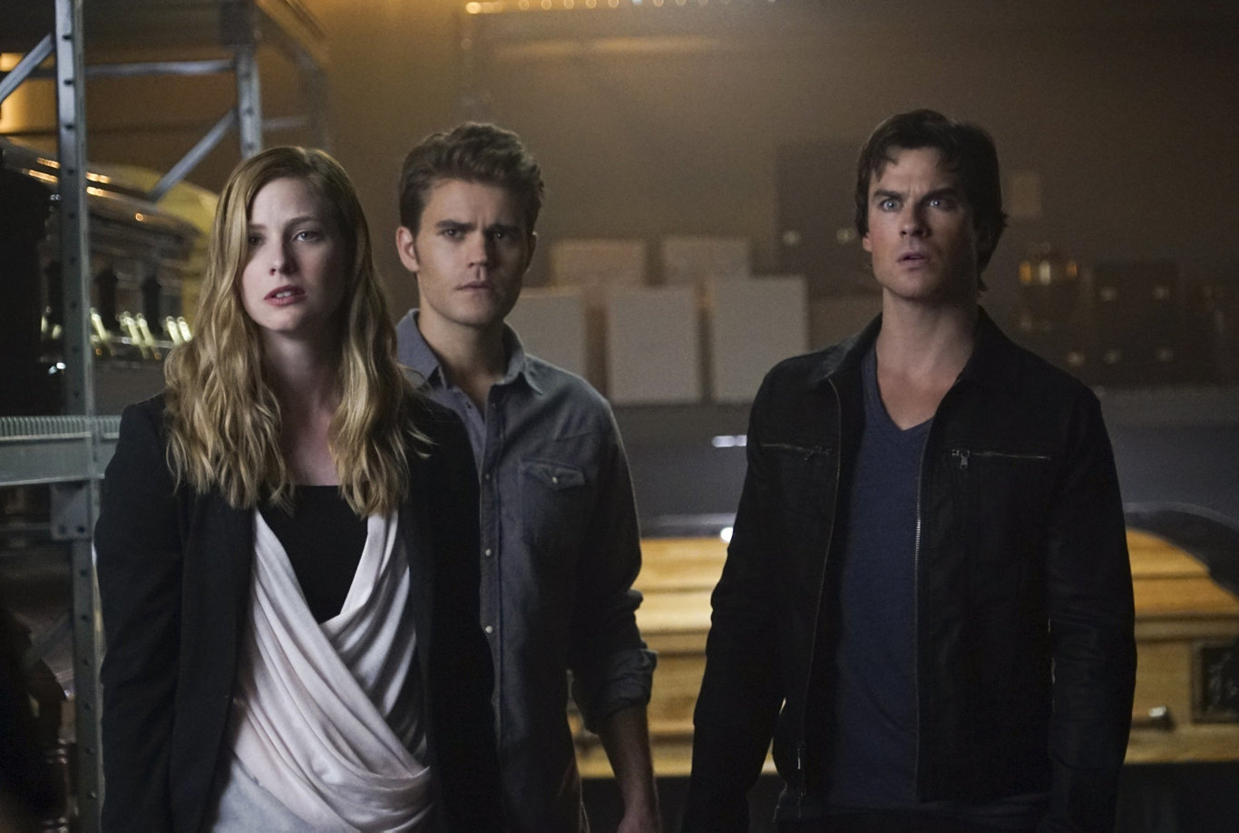 Australian actor Elizabeth Blackmore with Ian Somerhalder and Paul Wesley in a scene from the TV series The Vampire Diaires.