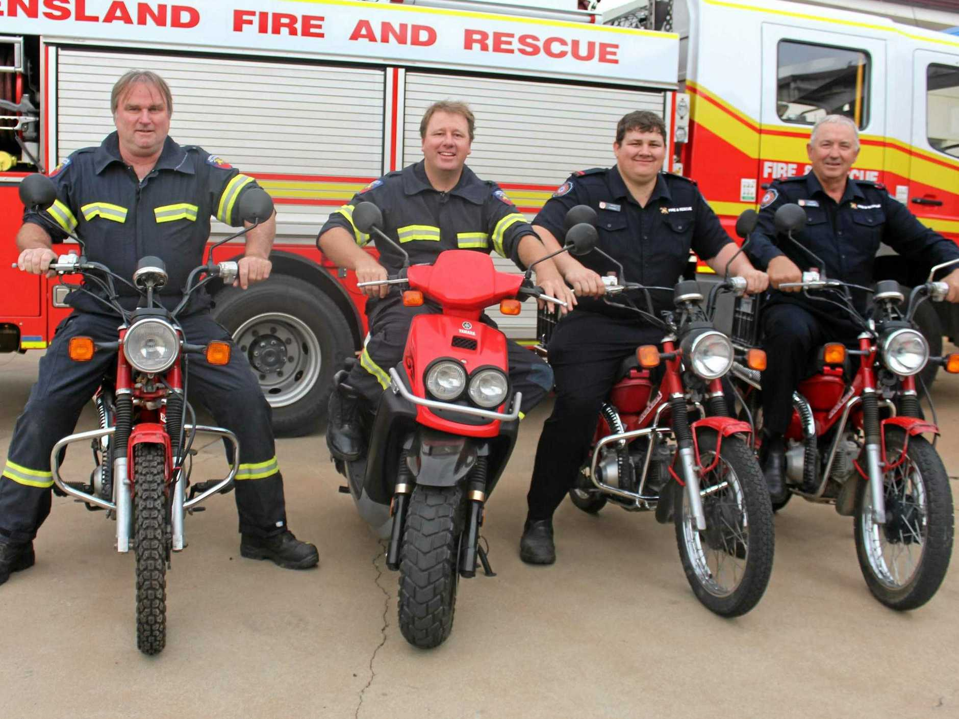 GEARED UP: Mark Vreeken, Luke Ogden, Ryan Hall and Danny Hurt will have their postie bikes in top condition ahead of their big ride through the North Burnett.