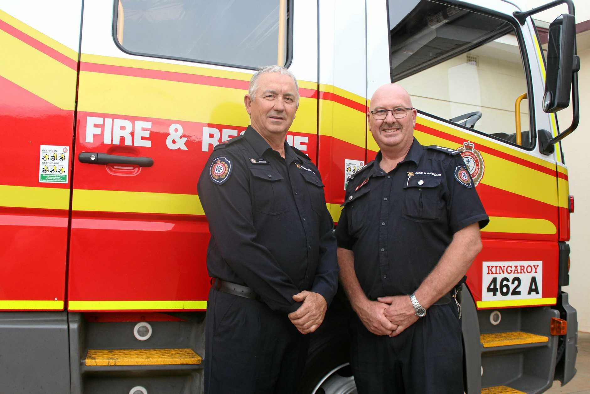 Kingaroy Fire and Rescue Servicemen Danny Hurt and Bruce Grower will be participating in the Postie Bike Ride next month.