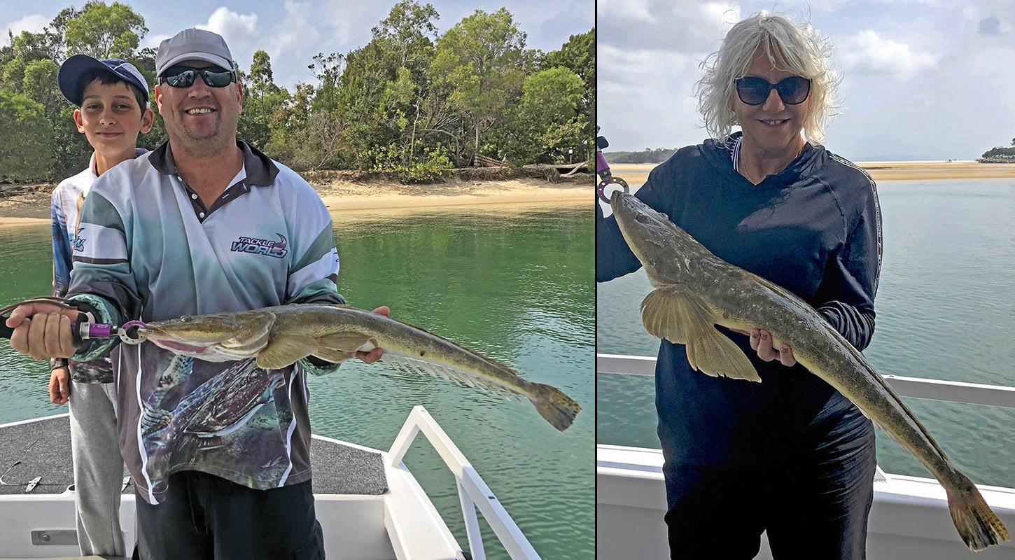 Gotcha - Jo White and her brother Kevin Darbison caught and released these thumper 80cm flathead while on a Noosa River Fishing Safari.