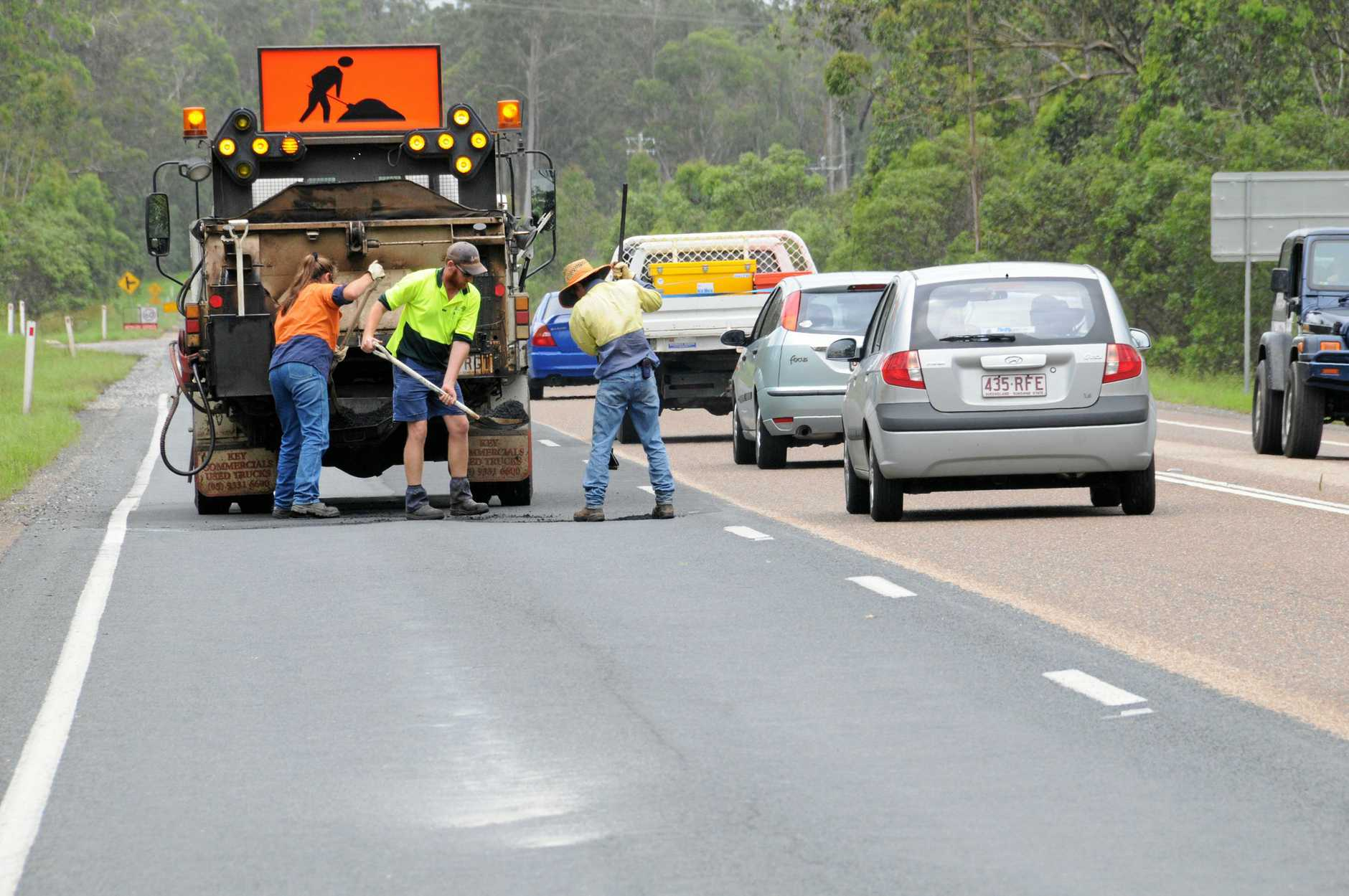 Council workers fixing highway Curra. Photo: Renee Pilcher / The Gympie Times