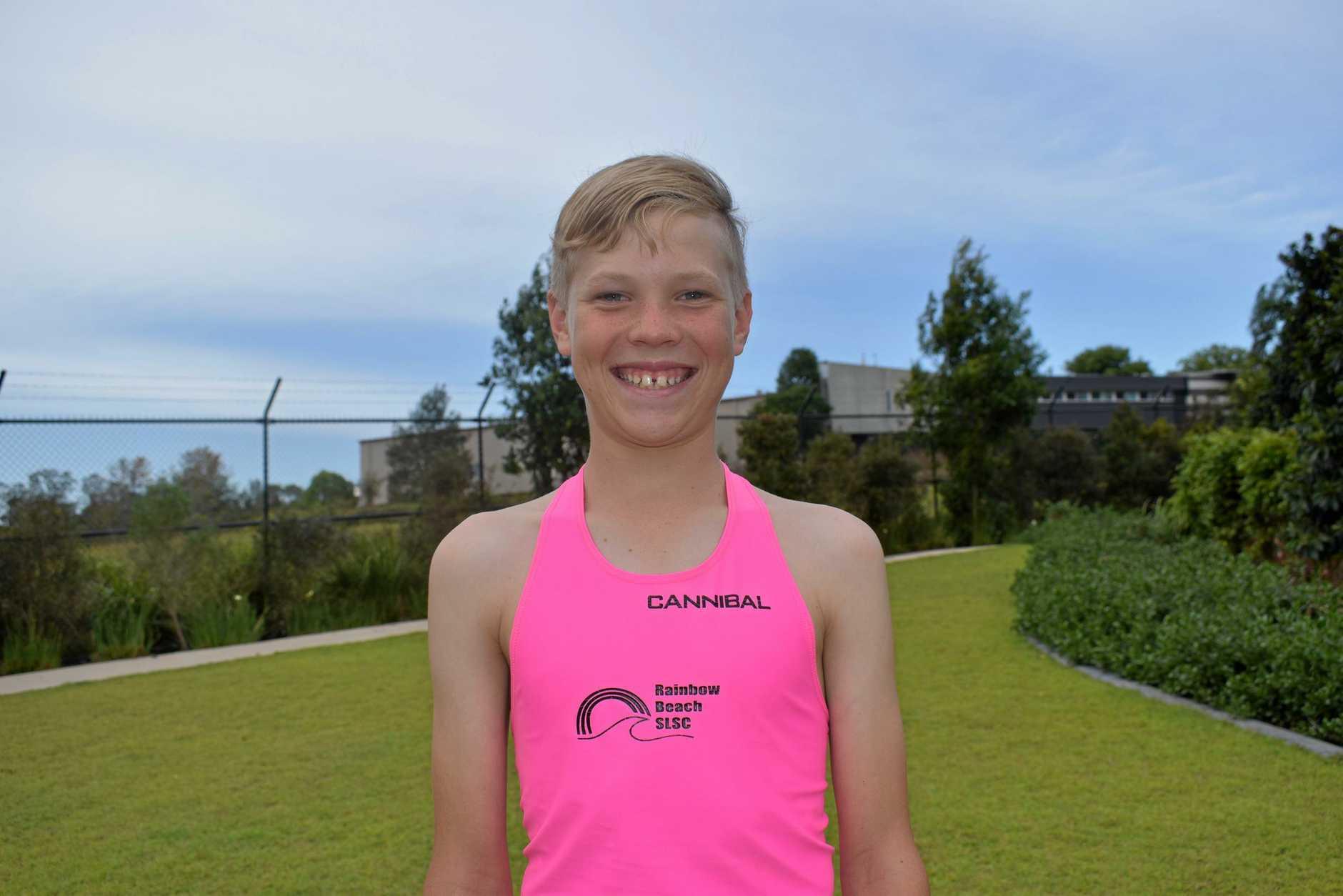 Nippers - Oliver Pratt, 11 training for the Rainbow Beach Surf Life Saving Club's Rainbow Beach Individual Carnival.